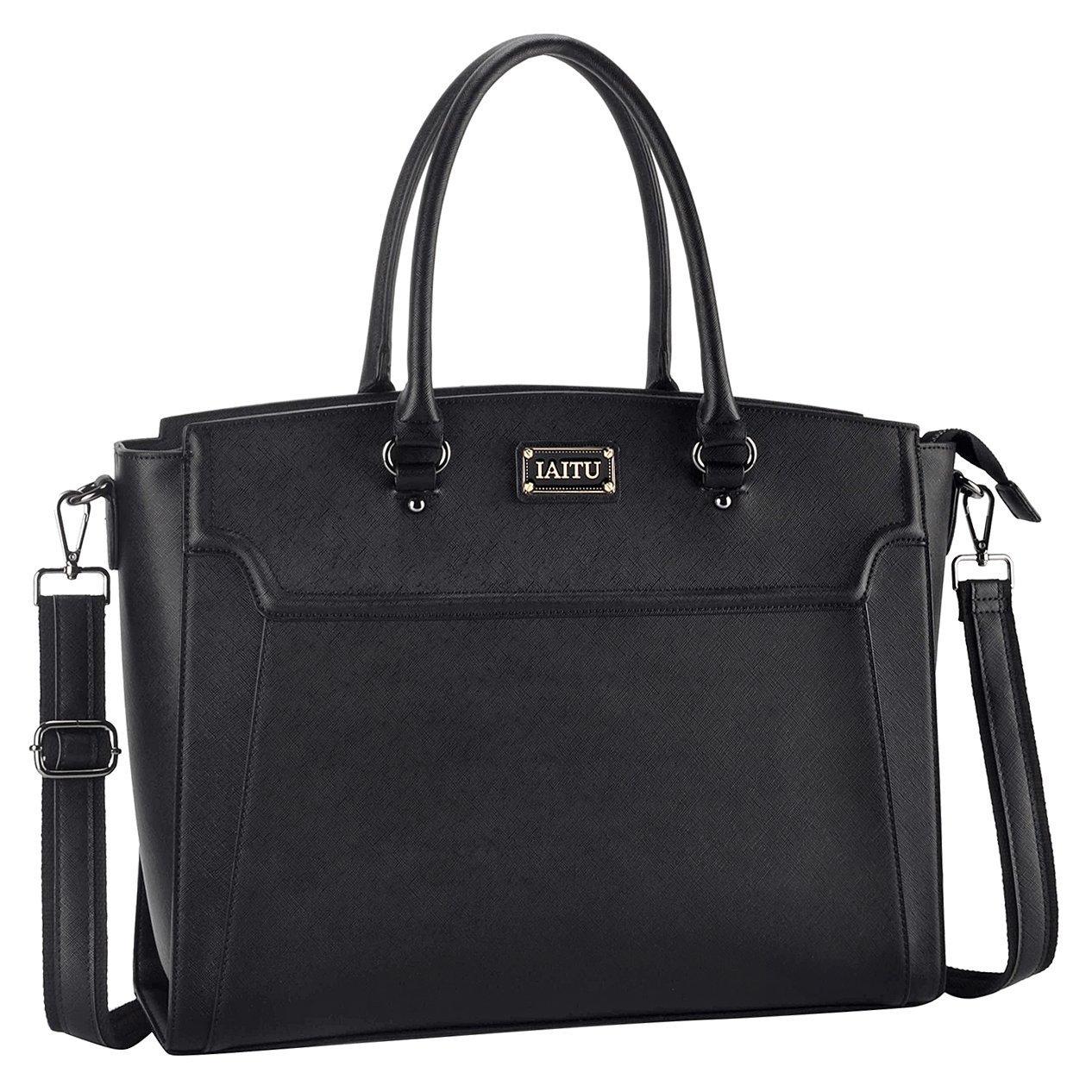 IAITU Laptop Bag for Women, 15.6 inch Classic Laptop Tote Bag Work Bag for Business with Adjustable Shoulder Strap (Black)
