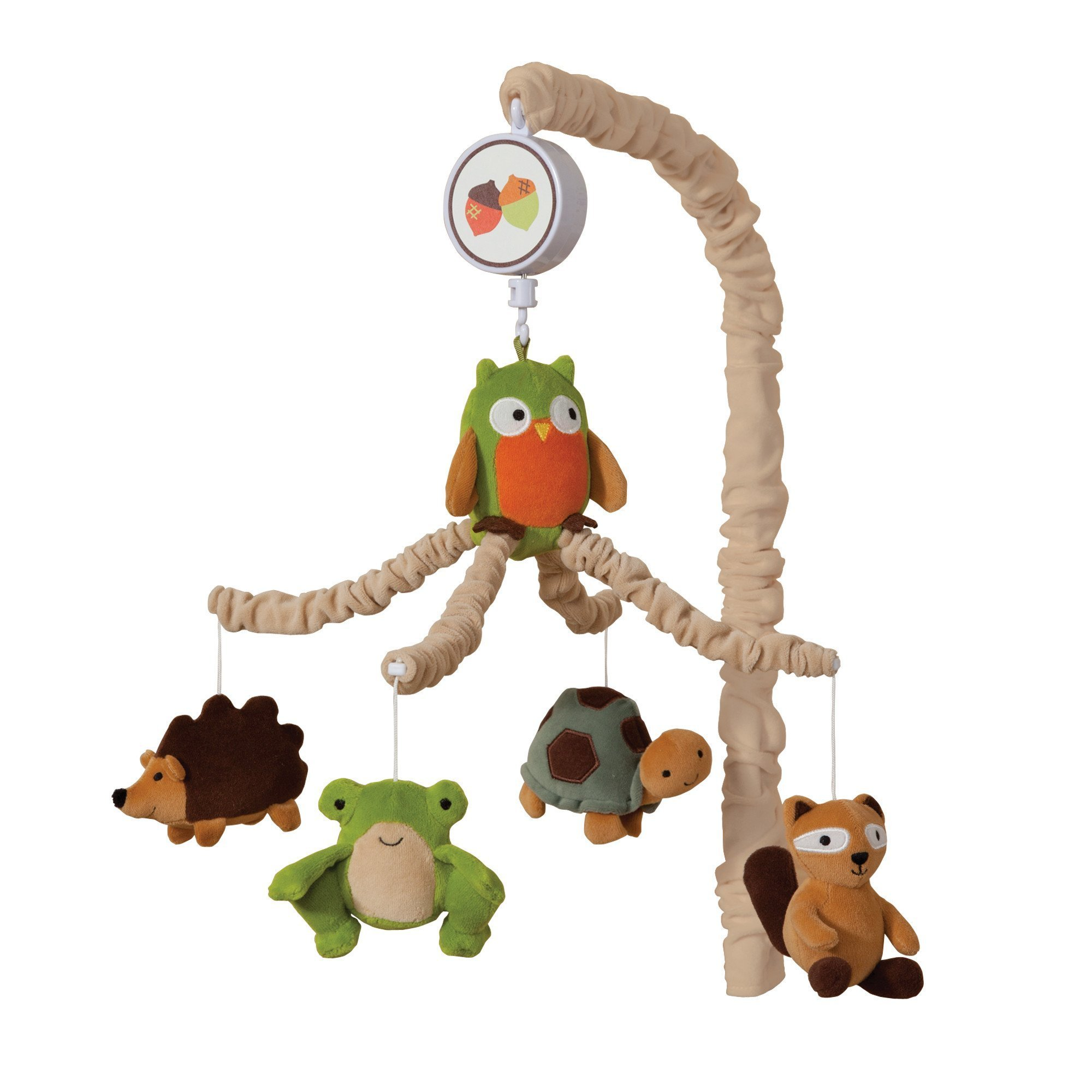 Lambs Ivy Woodland/Forest Crib Musical Mobile - Echo - Owl and Raccoon