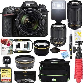 Nikon D7500 20 9MP DX-Format Digital SLR Camera + AF-S 18-140mm & 55-300mm  ED VR Lens + Accessory Bundle