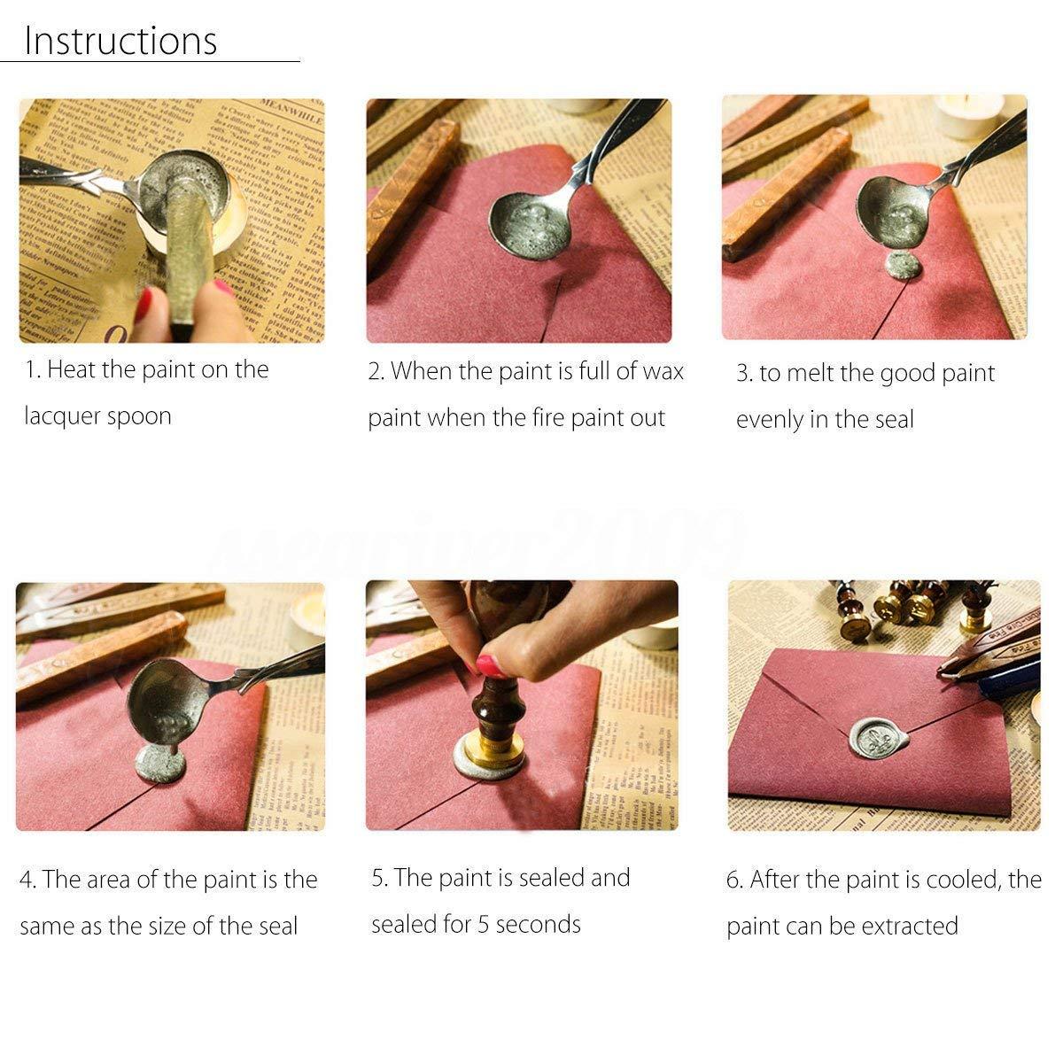 Mogokoyo Vintage-Stil Wachs Siegelstempel Set Stempel mit Metall Griff A-Z Dekorativer Siegel Petschaft Brief 26 Buchstaben W