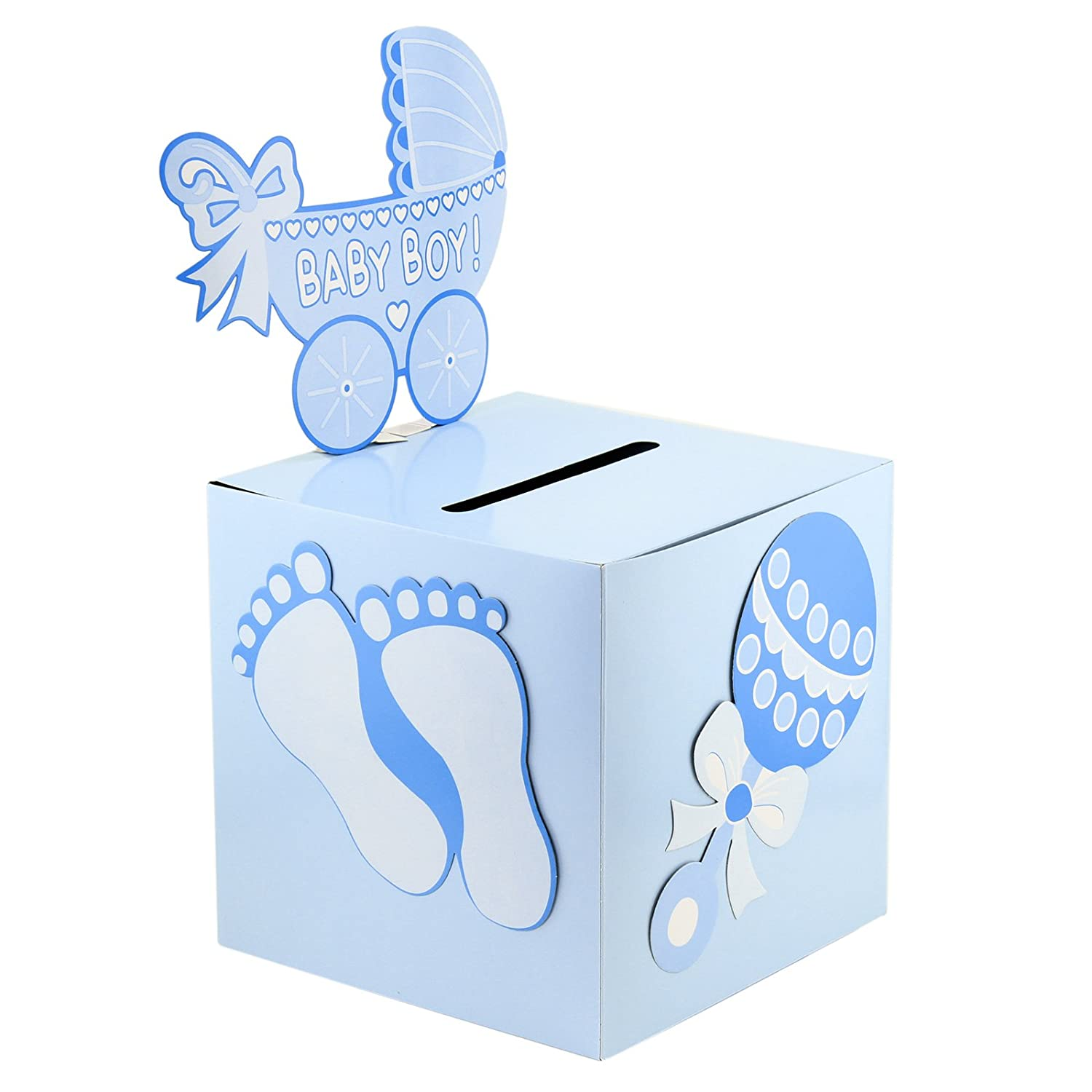 Deco4fun Blue Boy Baby Shower Card Box Money Gift Favor Idea Keepsake Gender Reveal Party