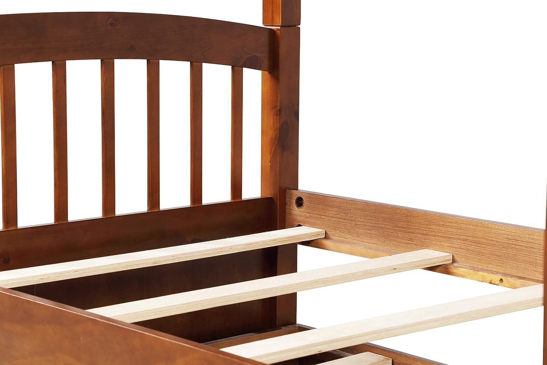 Litera de madera maciza para niños, adolescentes y adultos, cama individual con cama nido y 3 cajones de nogal: Amazon.es: Hogar