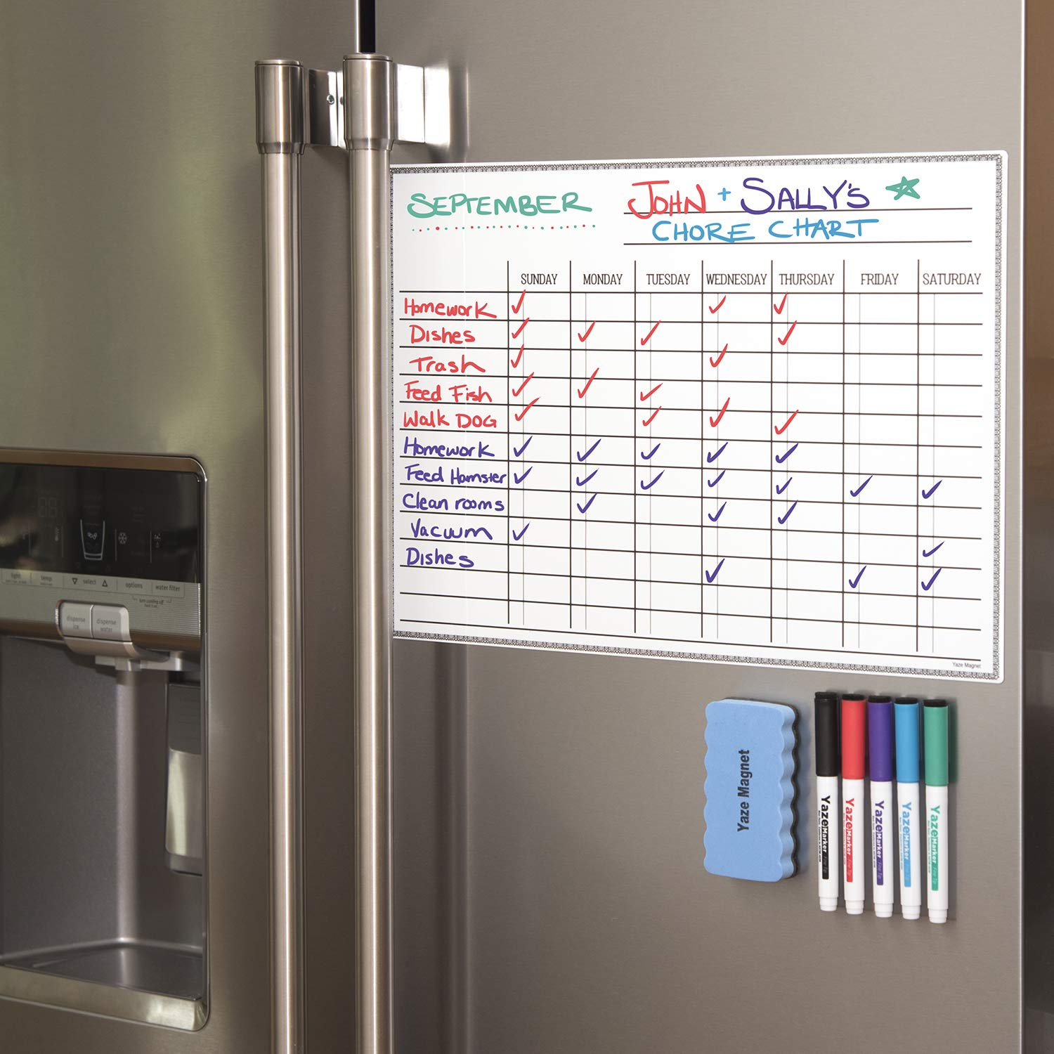 "Whiteboard Chore Chart - Magnetic Dry Erase Chore Board for Multiple Kids - Chores White Board for Fridge - 17X12"" - 5 Markers & Eraser with Strong Magnet - Family Refrigerator Weekly Planner"