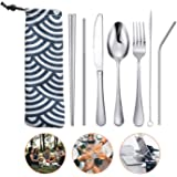 7 Pieces Portable Stainless Steel Flatware Set Travel Cutlery Silverware Set Reusable Utensils with Case, Stainless Steel Knife Fork Spoon Chopsticks Straws (Silver)