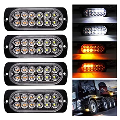 BOODLIED Ultra Slim Emergency Hazard Strobe Light Universal 12-LEDs Warning Flash Light for Truck Vehicle Car Motorcycle Trailer Caravan Camper Van.White/Amber(4-Pack).: Automotive [5Bkhe1506303]