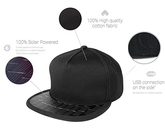 ad9a673f19f Image Unavailable. Image not available for. Color  Revolt Solar USB Charger  Snapback Hat for Cell Phones ...