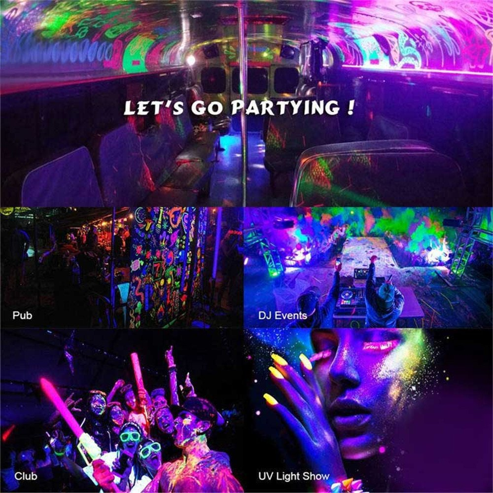 Black Light Bar 12 LED x 3W UV Light Neon Light Party Lights with 4.79ft Switch Cord for Garage Glow Parties Halloween Party Stage Lighting Neon Party Wedding Holiday Show Club Pub Disco DJ by U`King (Image #3)