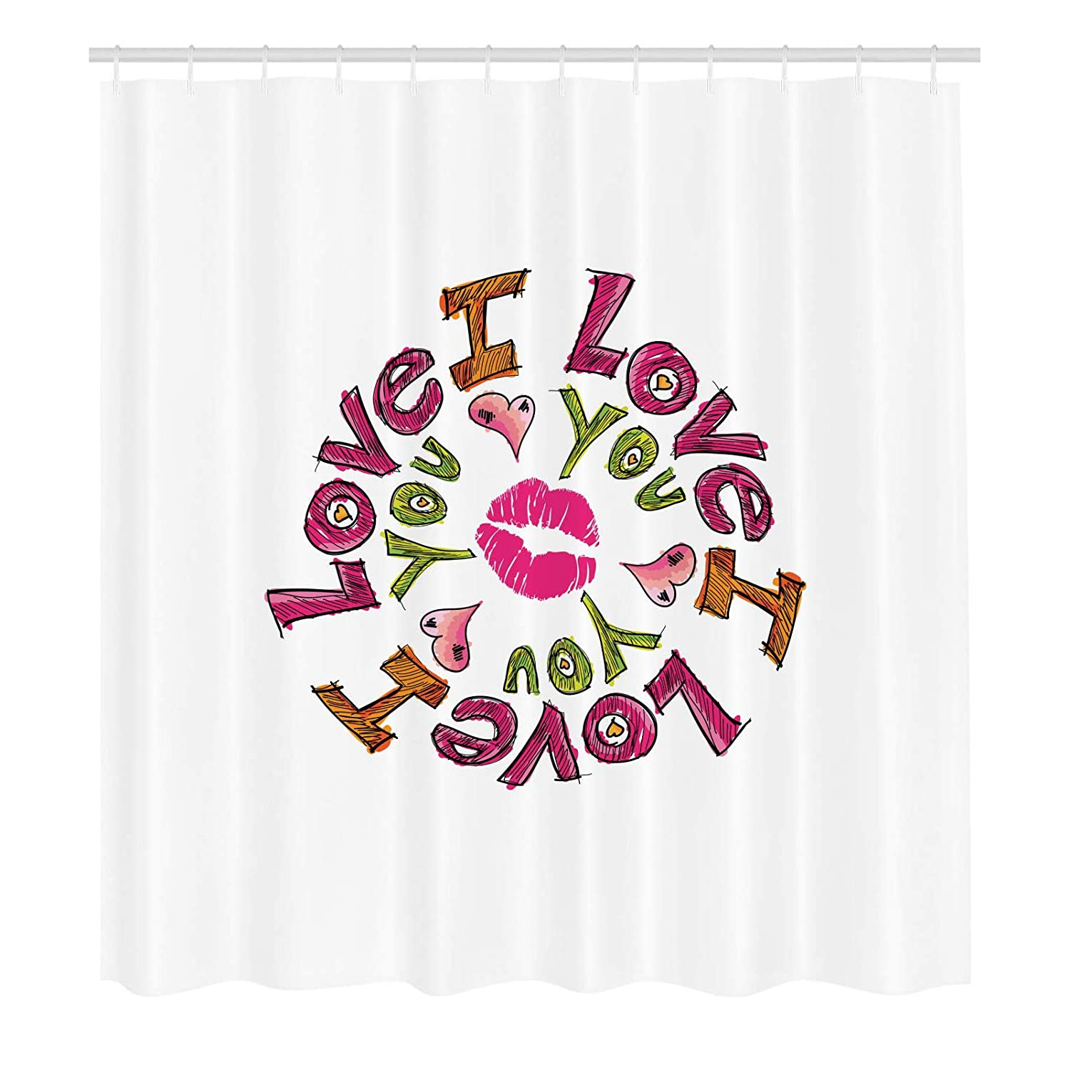 Love You Shower Curtain Comical Sketch Of Lettering In Circular Design With Valentines Hearts A Smooch Polyester Fabric Waterproof Bathroom Decor