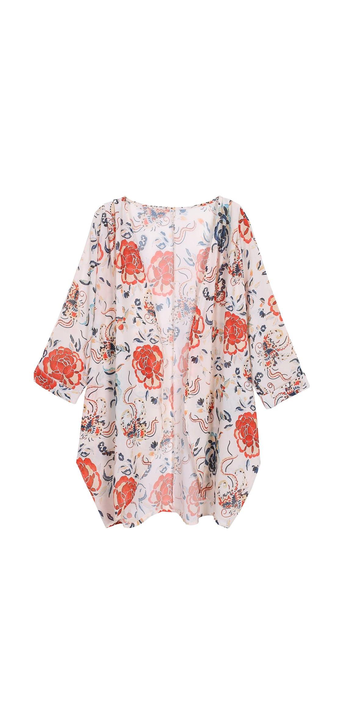 Women's Floral Print Sheer Chiffon Loose Kimono Cardigan