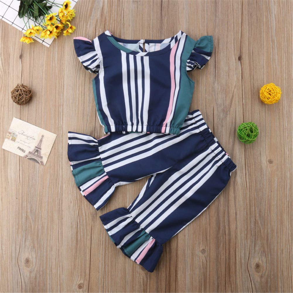 Girls' Clothing Mother & Kids Devoted Kids Clothing Sets Baby Girl Clothes Girls Off Shoulder Crop Top Bell-bottom Pants Floral Clothing Baby Outfit Set Girls Clothes