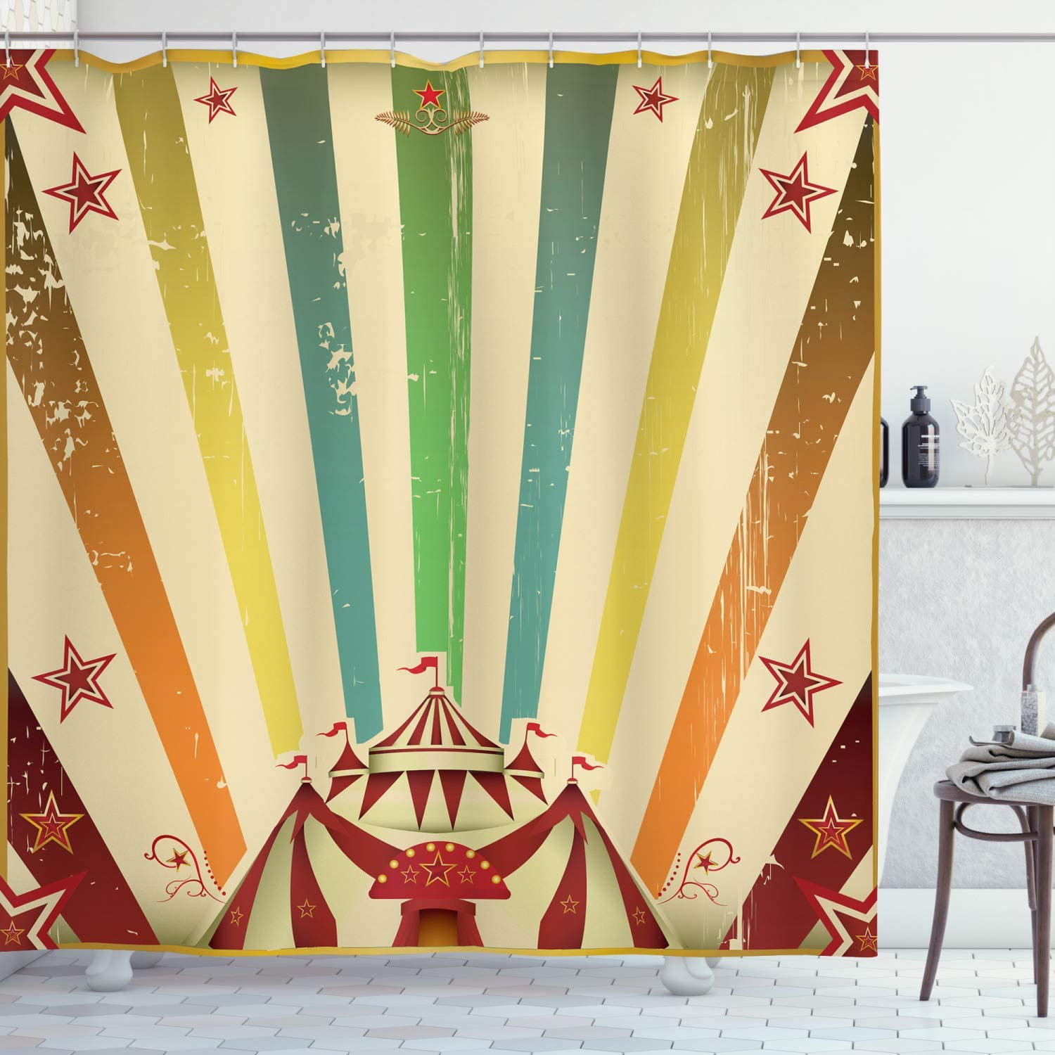 """Ambesonne Vintage Rainbow Shower Curtain, Old Circus Carnival Advertisement Theme Stripes Stars and Fun Fair Tent, Cloth Fabric Bathroom Decor Set with Hooks, 70"""" Long, Beige Red"""