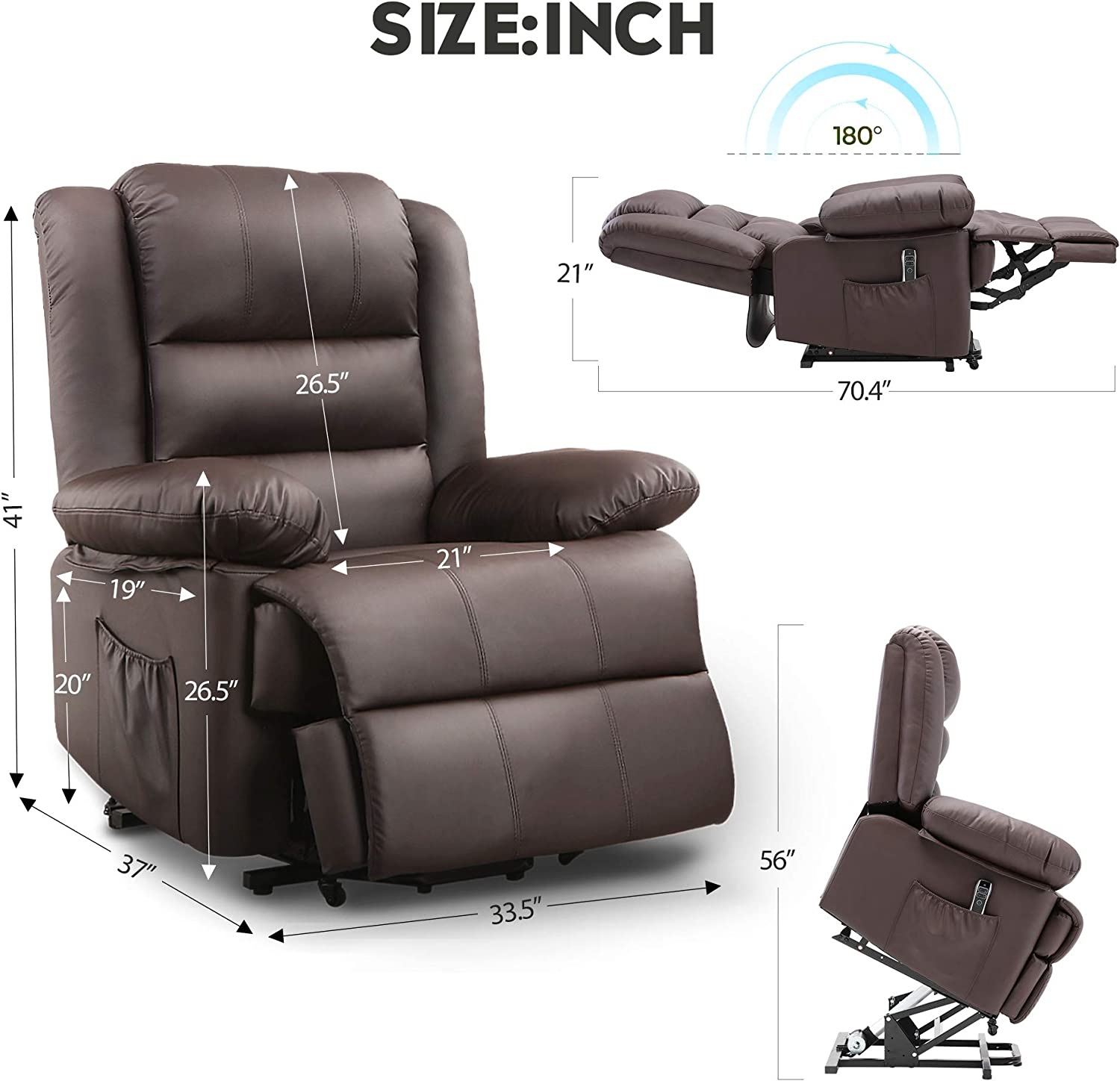 Faux Leather Upholstery Dark Brown Living Room Sofa Chair with Remote Control+USB Port DEVAISE OKIN Dual-Motor Power Lift Recliner Chair for Elderly