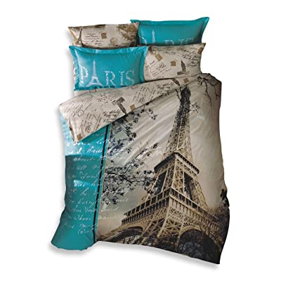 TAC 100% Turkish Cotton 4 Pcs!! Paris Eiffel Tower Theme Themed Full Double Queen Size Quilt Duvet Cover Set Bedding Made in Turkey: Home & Kitchen