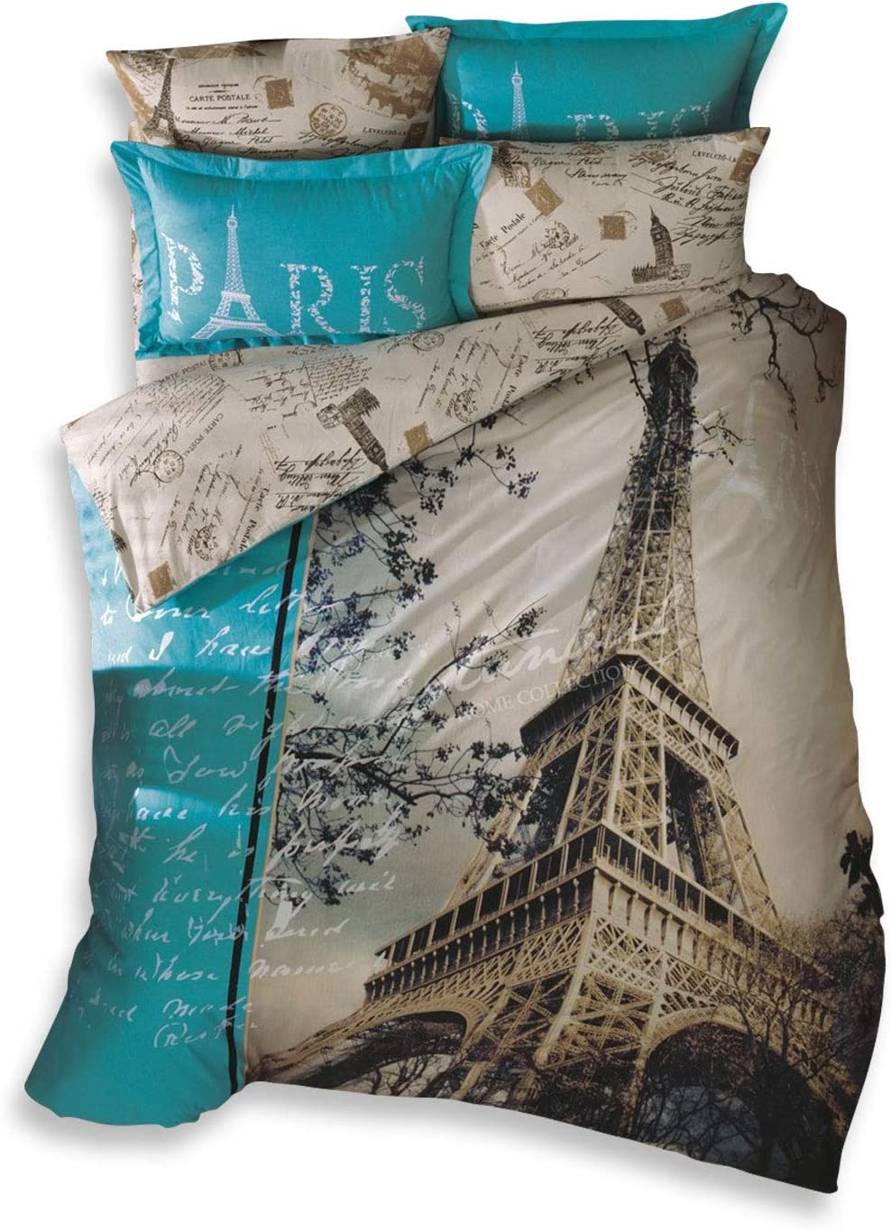 TAC 100% Turkish Cotton 4 Pcs!! Paris Eiffel Tower Theme Themed Full Double Queen Size Quilt Duvet Cover Set Bedding Made in Turkey