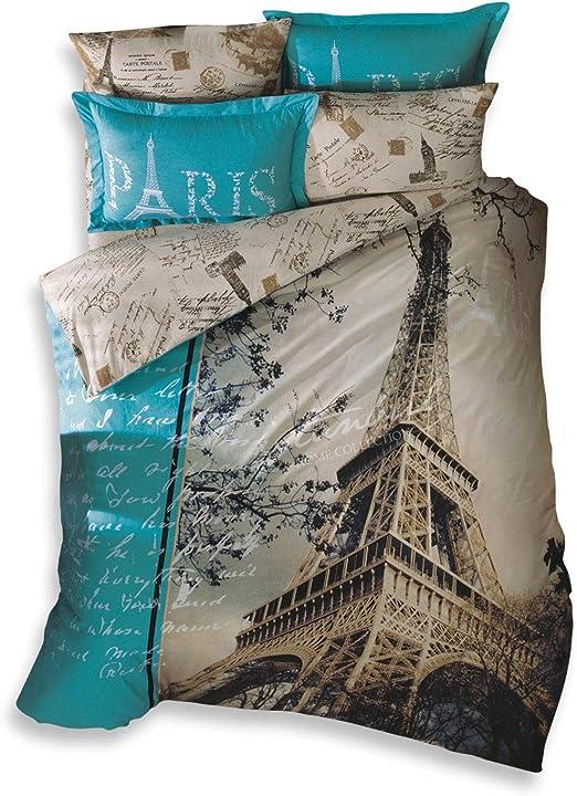 Paris Bedding Set Eiffel Tower Themed 100/% Cotton Duvet Cover Set 3 Pieces