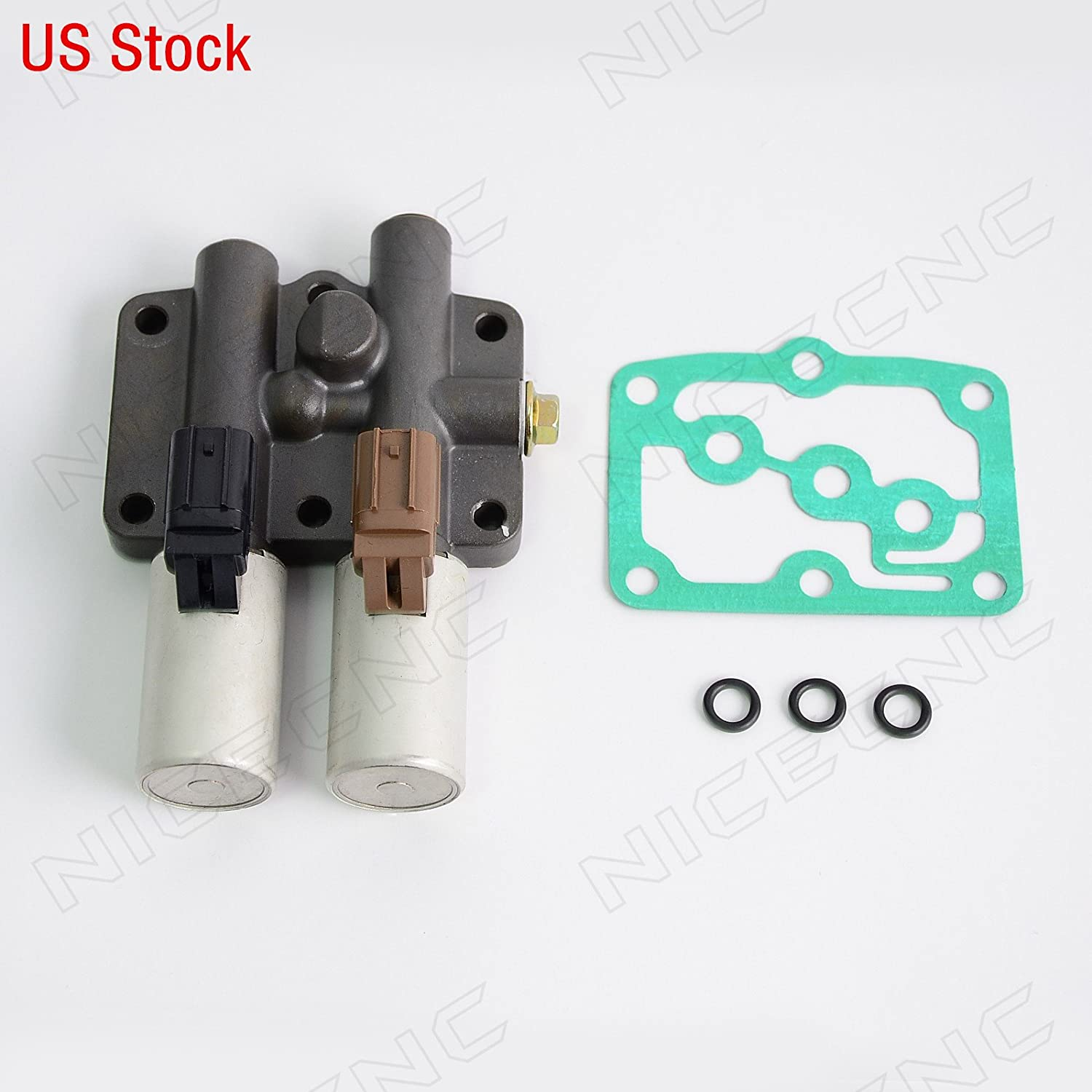 NICECNC Dual Linear Solenoid for Honda Accord 4 Cyl 6 Cyl 1998-2002/2007 Odyssey Pilot 2003-2007 Prelude 1997-2001 Acura 2.3/3.0 CL 1998-1999 MDX 2001-2002 3.2 CL/TL