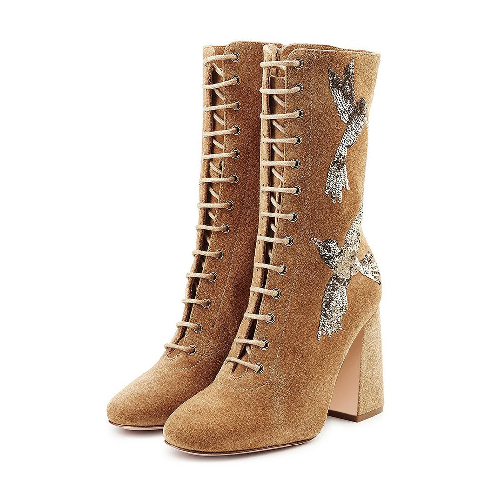 XYD Vintage Embroidery Knee High Boots Suede Lace Up Chunky Heel Mid Calf Women Shoes Size 8.5 Peru