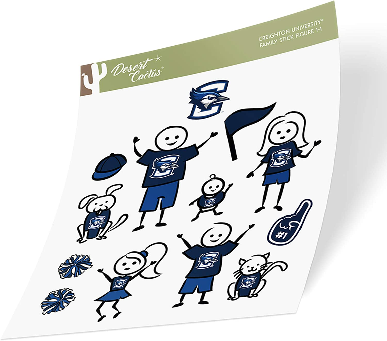 Creighton University CU Bluejays NCAA Sticker Vinyl Decal Laptop Water Bottle Car Scrapbook (Full Sheet Stick Figure)