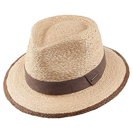 7edbad7180e Stetson Hats Raffia Straw Teardrop Fedora - Natural MEDIUM  Amazon ...