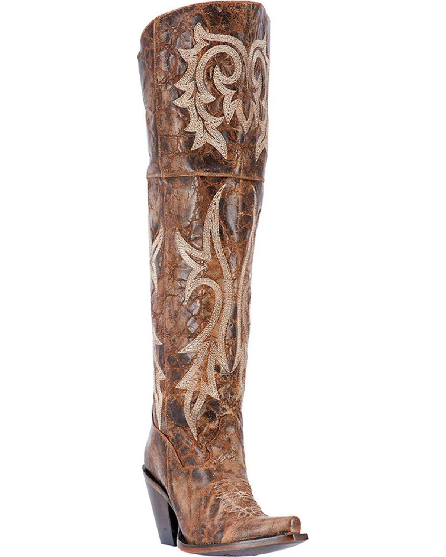 Dan Post Women's Chestnut Jilted Knee Boot Snip Toe - Dp3709 B01NAYUOMM 7 B(M) US|Brown