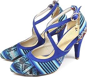 70d4b942c4f7f Andean Textile Colorful Pumps Peru Heeled Sandals Handmade Shoes - Lira