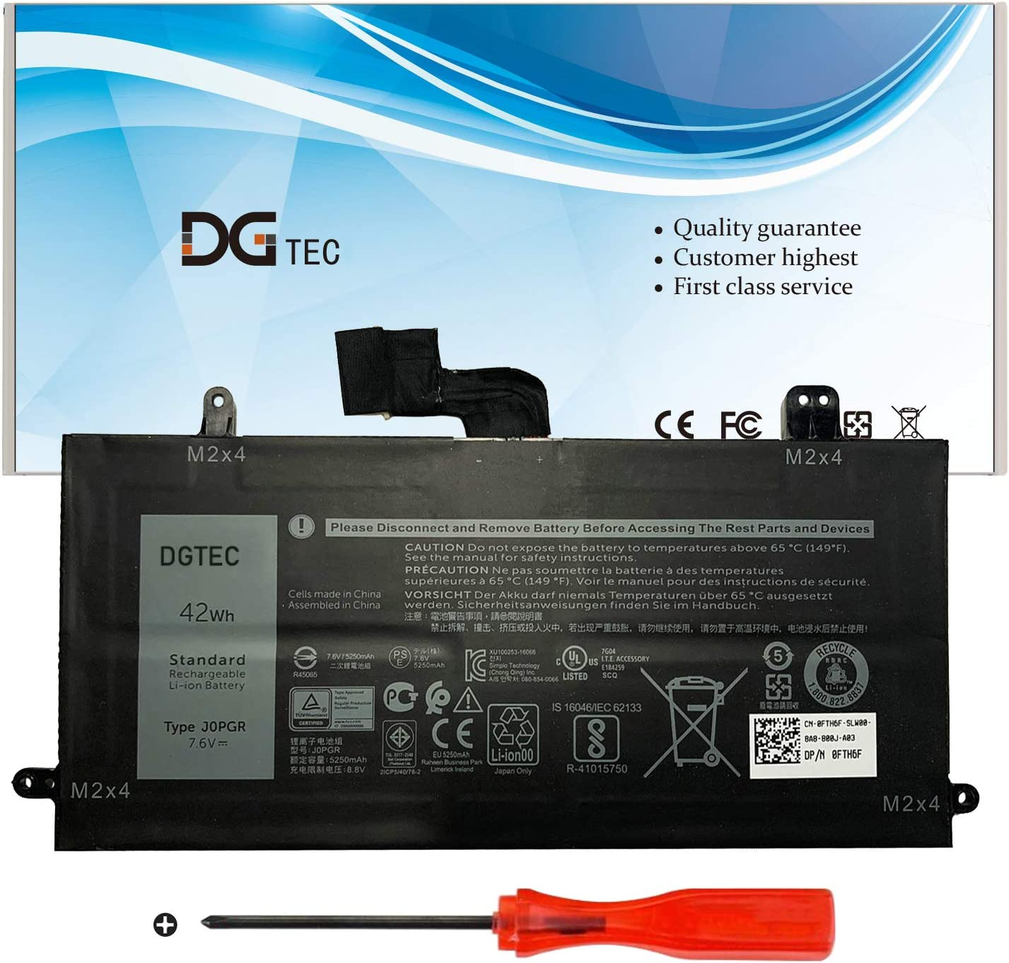 DGTEC J0PGR 42Wh/5250mAh Laptop Battery for Dell Latitude 12 5285 5290 E5285 E5290 2 in 1 Series X16TW FTH6F FTG78 1WND8 0J0PGR 7.6V