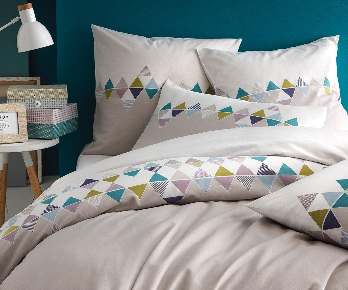 great matt u rose esprit scandinave housse de couette coton grisblanc x cm amazonfr cuisine u. Black Bedroom Furniture Sets. Home Design Ideas