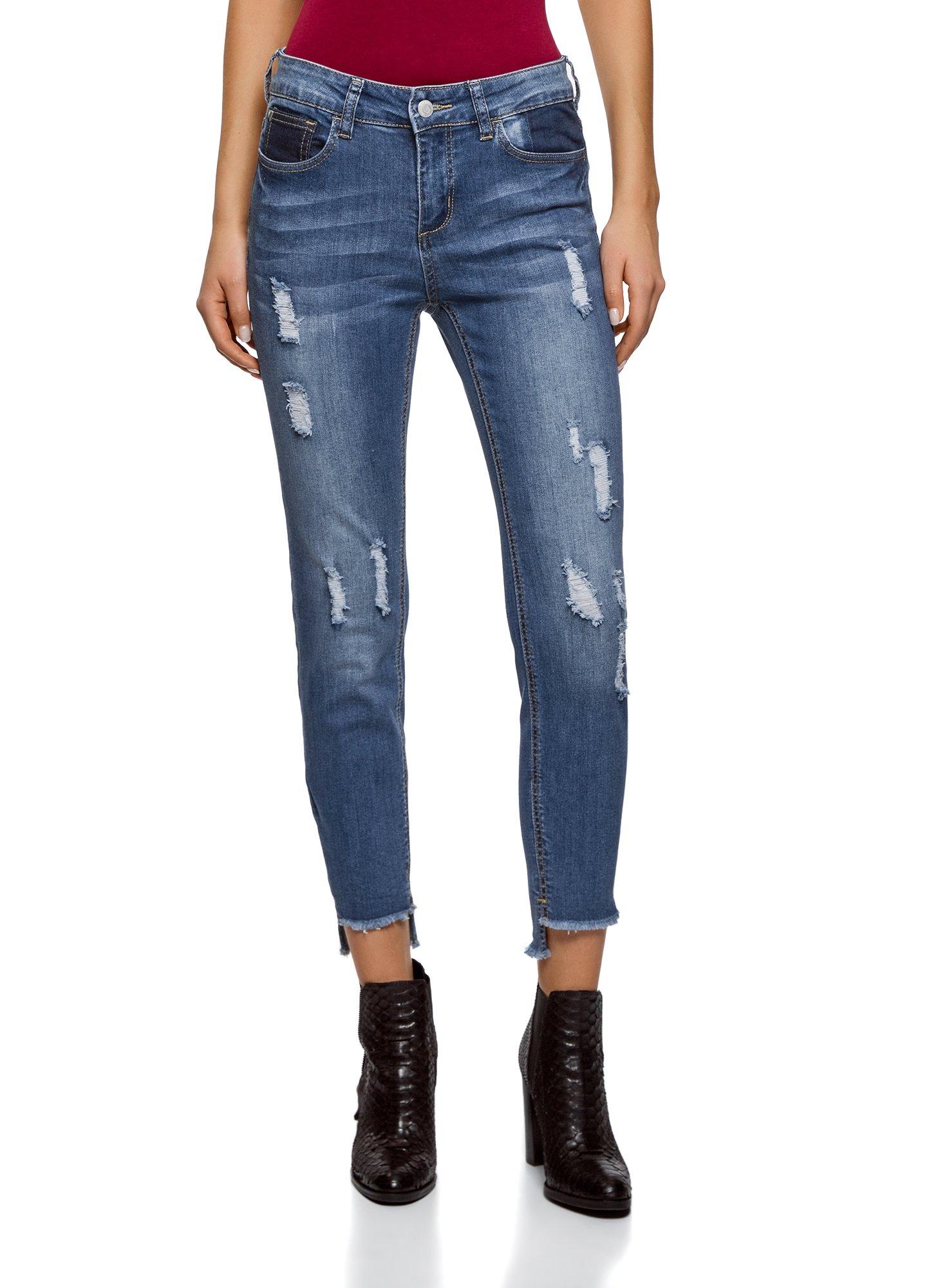 oodji Ultra Women's Ripped Skinny Jeans, Blue, 26W / 32L (US 2 / EU 36 / XS)