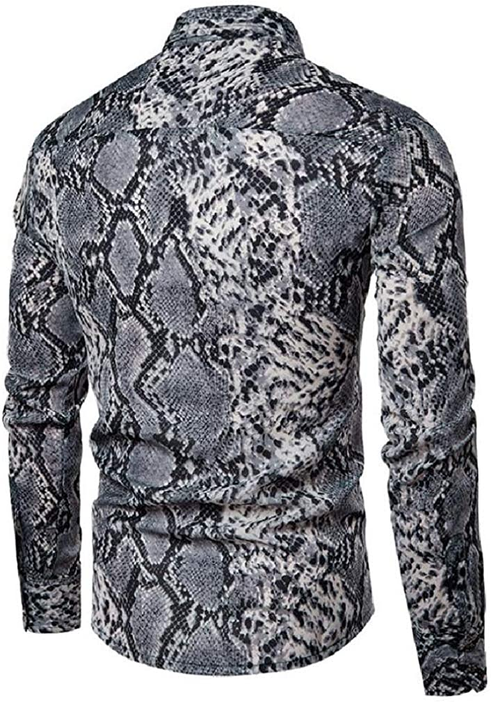 Lutratocro Mens Long Sleeve Lapel Loose Print Button Down Shirts