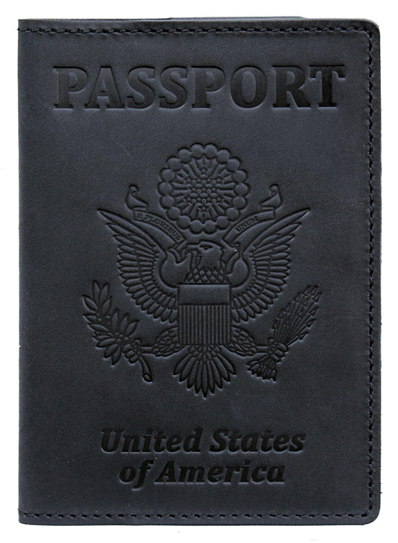 RFID Blocking US Passport Holder Cover Travel Wallet Organizer Case With Card Slots (Black Vintage)