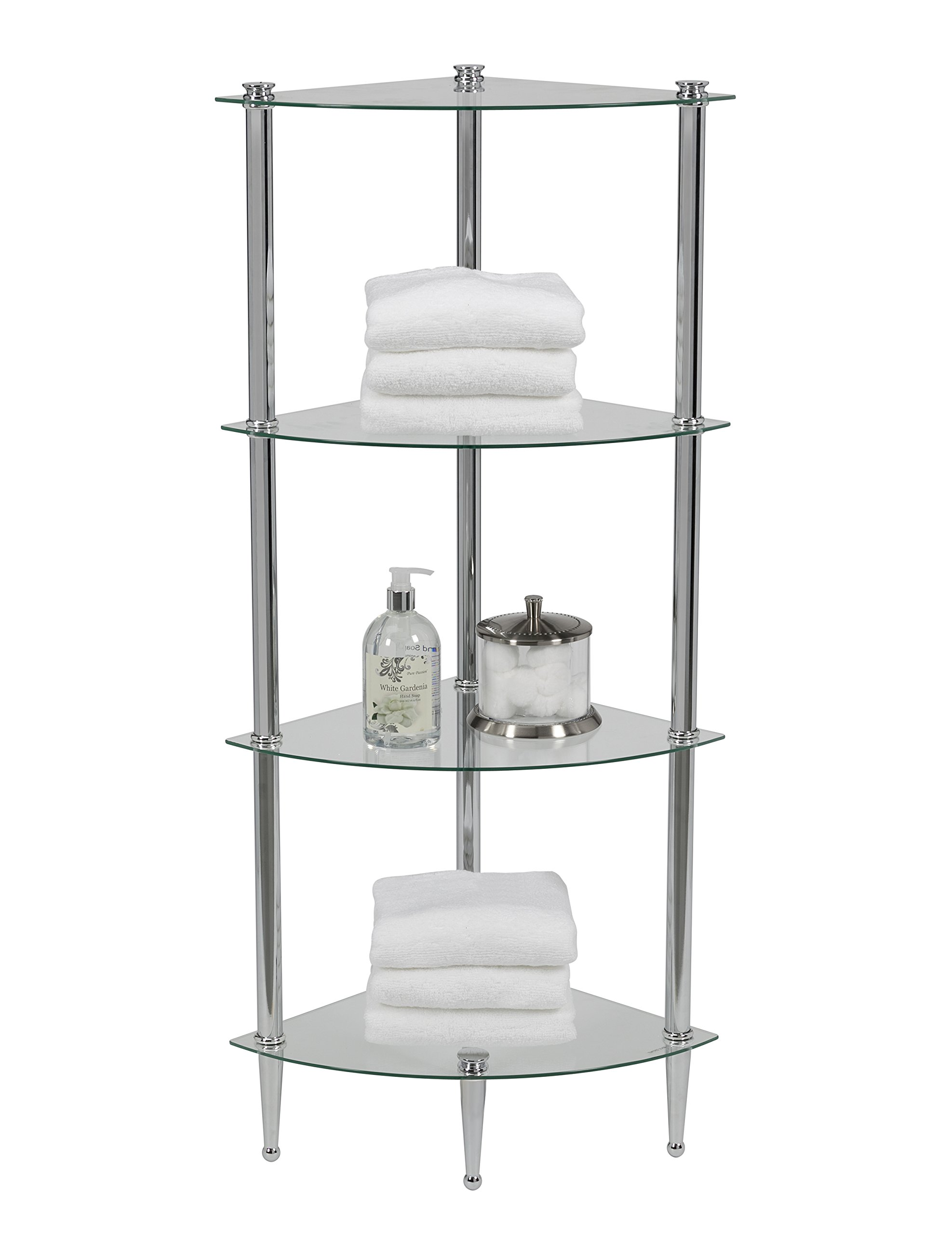 Creative Bath Products L'etagere - Classic & Transitional Series 4 Shelf Corner Tower, Chrome