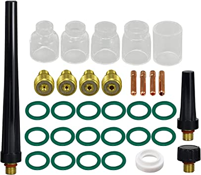 TIG Stubby Gas Lens Collet Body /& #5#6#7#8#10 Pyrex Cup Kit For DB SR WP 17 18 26 TIG Torch Welding Accessories 33pcs