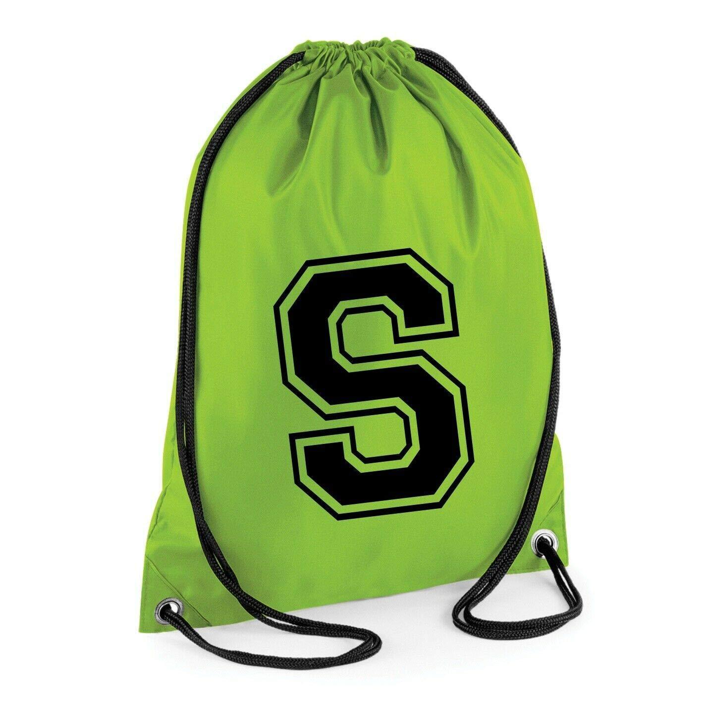 INITIAL Drawstring Bag School Club PE Custom Sport College Retro Set Letter