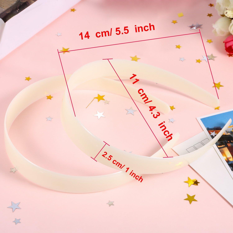 Blanc Bandeaux en Plastique Artisanat 1 Pouce Plaine sans Dents DIY Bandeaux de Cheveux Plain Bandeaux 20 Pi/èces