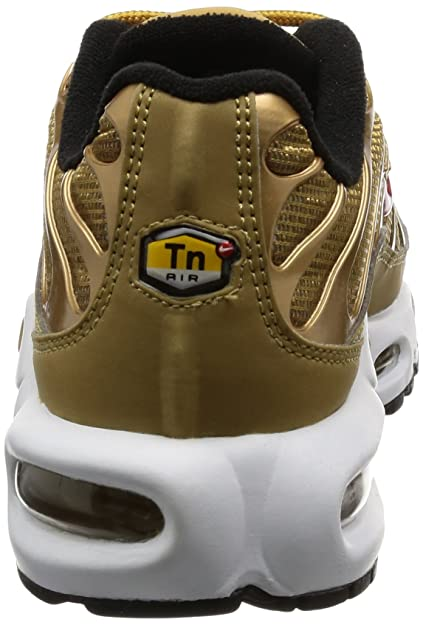 Amazon.com | Nike Womens WMNS Air Max Plus QS, Metallic Gold - University Red | Athletic