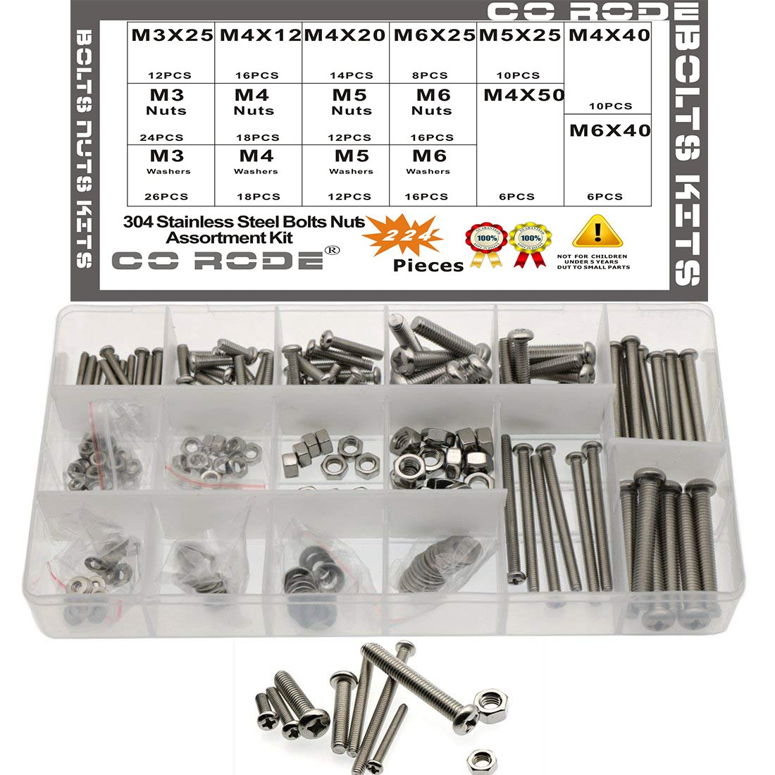 224pcs Stainless Steel Cross Recessed Pan Head Machine Screws Bolts Nuts with Flat Gaskets Kit