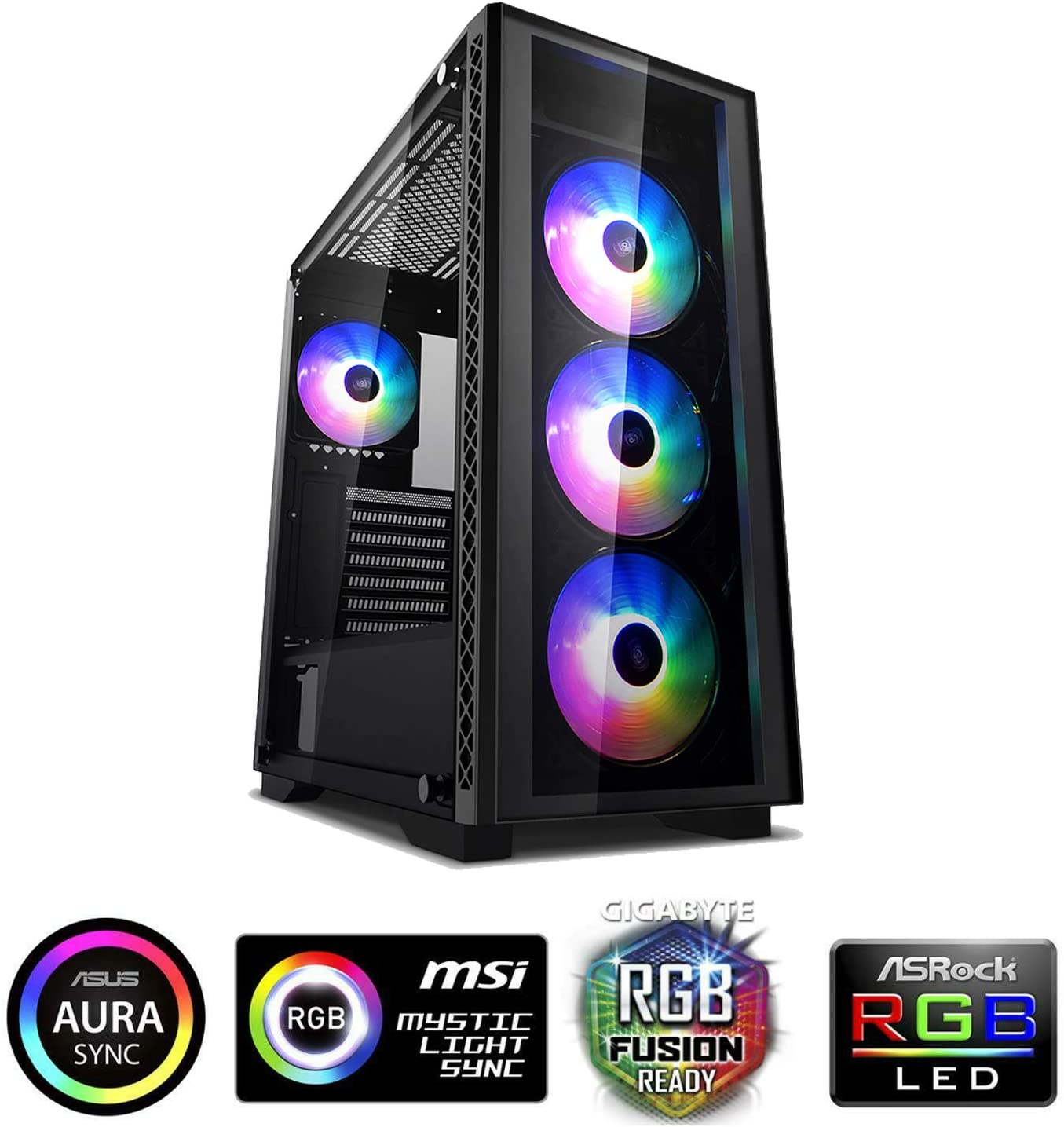 DeepCool Matrexx 50 Black Case ATX USB 3.0 PC Gaming 0,6 mm SPCC con 4 Ventiladores 120 mm PWM RGB Rainbow Addressable 5 V Add Panel Frontal y Lateral de Cristal Templado (AxPxL 479 x 442 x 210 mm)