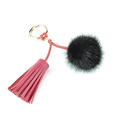 abc7fbd8e1 Genuine Leather Tassel Keychain Mink Fluffy Fur Pom Pom Ball Bag Charm Bag  Decoration