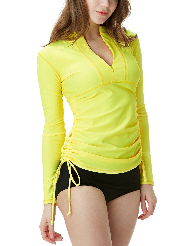 TSLA Women's UPF 50+ Full & Half Zip Front Long Sleeve Top Rashguard Swimsuit, Half Zip(fsz04) - Yellow, X-Small by TSLA