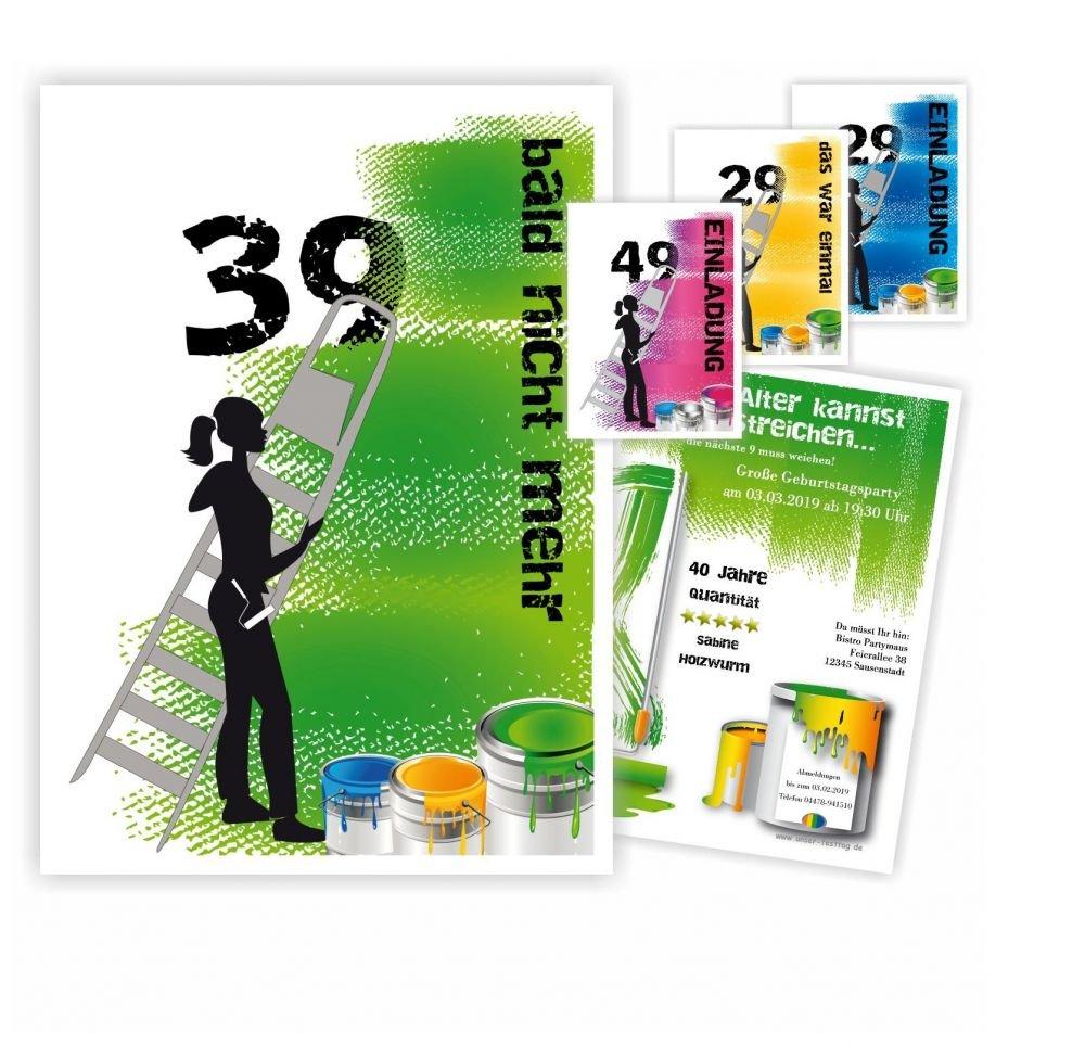 Einladungskarten zum Geburtstag Erwachsene, Mädchen Frau - für jedes Alter Wunschalter, 80 Karten, Größe 17 x 12 cm B076BQJLYY | Primäre Qualität