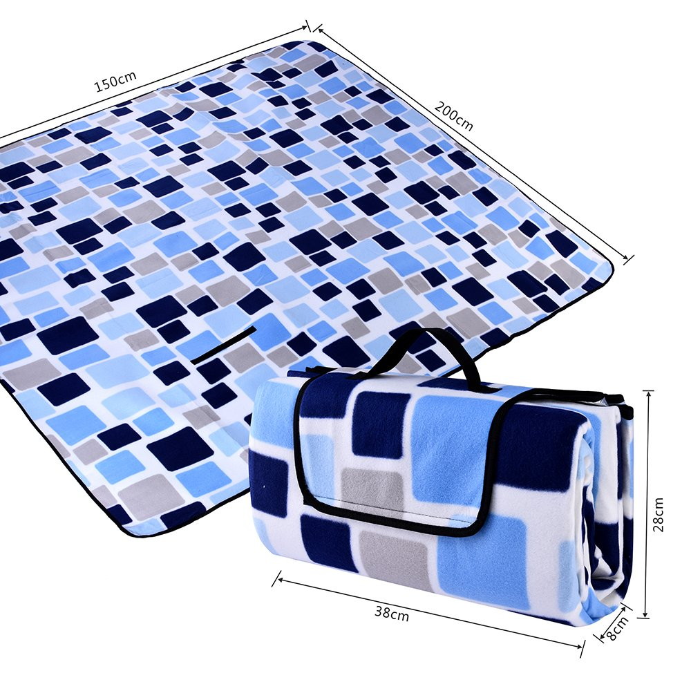 """OutMorgo Picnic Blanket Oversize 80""""x 80"""", Fold able and Portable Tote, Waterproof and Sand Proof Mat - Best for Picnic,Beach,RV,Outing Grass Trip Party and Music Festivals"""