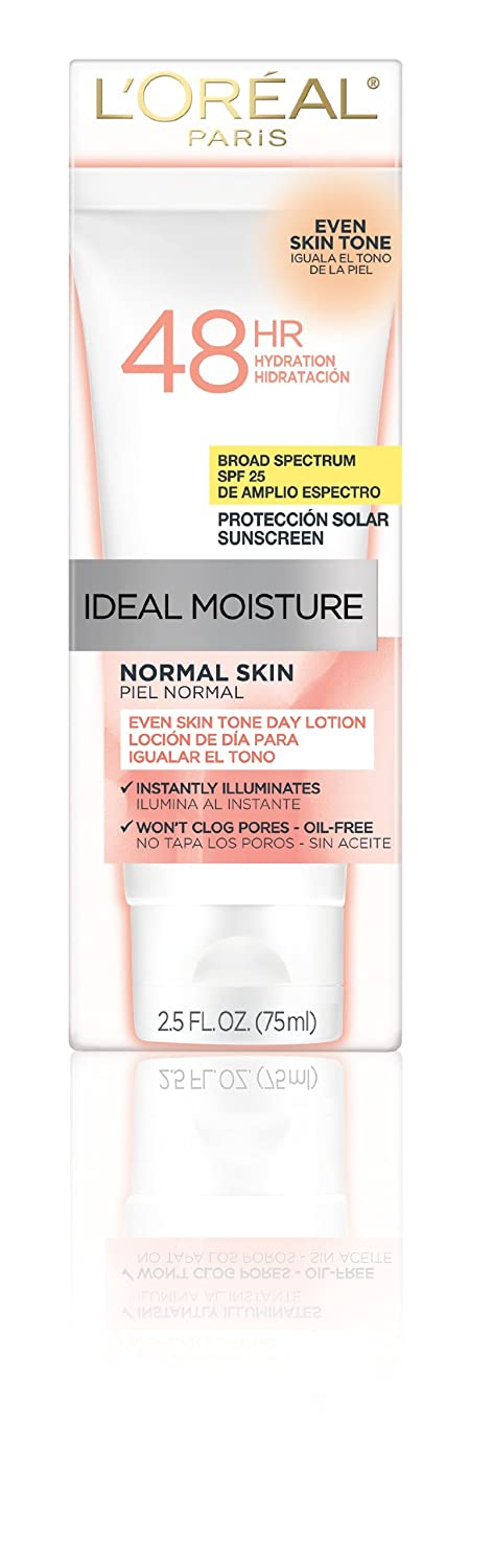 Amazon.com : LOreal Paris Ideal Moisture Even Skin Tone Day Lotion, Normal Skin, 2.5 Fluid Ounce : Facial Moisturizers : Beauty