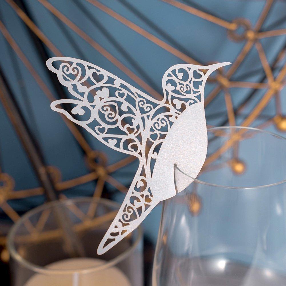 50 x Carte porte lieu table nom marque place décoration pour mariage douche bébé saint-communion fête d'anniversaire etc. (oiseau blanc sur verre à vin) Générique