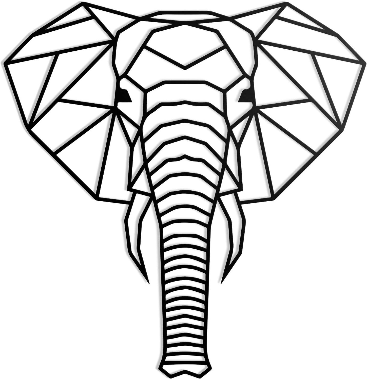 Elefantenkopf//Elefant 74 x 71 cm 1 kg unsichtbare Befestigung Stahl Made in Germany Rerum /& Consilium geometrischer Elefantenkopf XL in Schwarz