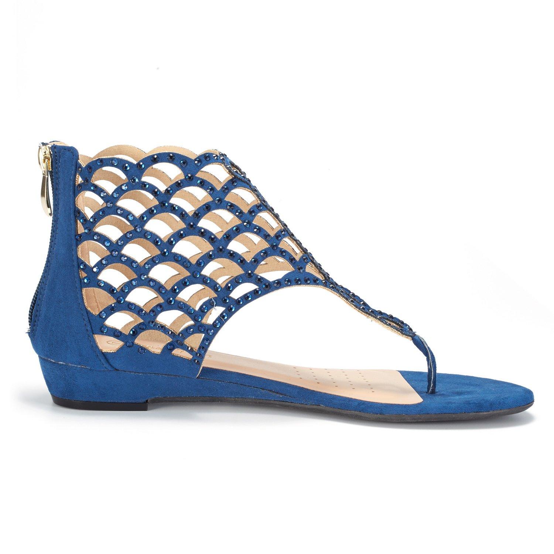 DREAM PAIRS Womens Jewel Rhinestones Design Ankle High Flat Sandals