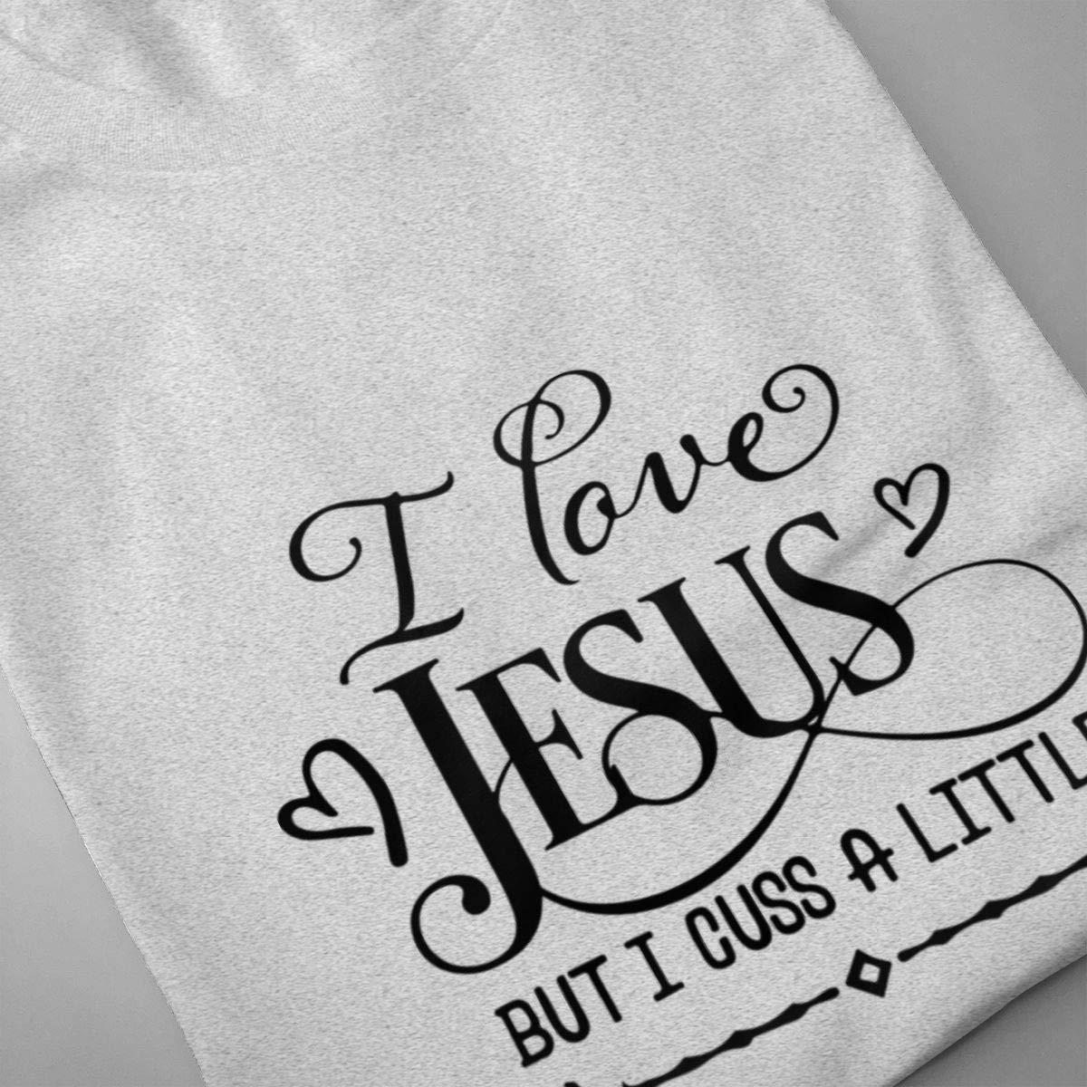 Luxendary Men Logo I Love Jesus But I Cuss A Little Funny Running Round Neck Short Sleeve Tee