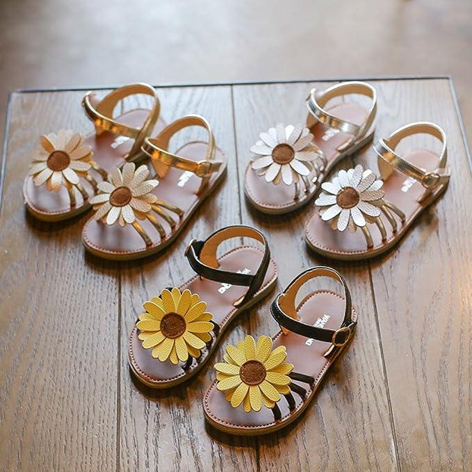 Lurryly Toddler Flower Roman Sandals,Baby Girls Kids Kids Princess Shoes 0-8 T