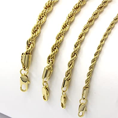 ecf131c2812 Jewel Town Mens 14k Yellow Gold Plated Width 3 4 5 6mm French Rope Link Chain  Necklace (4mm 30