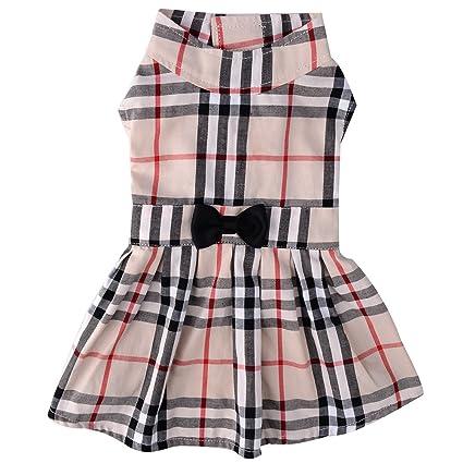 Amazon Com Pupteck Classic Plaid Dog Dress Cute Puppy Clothes