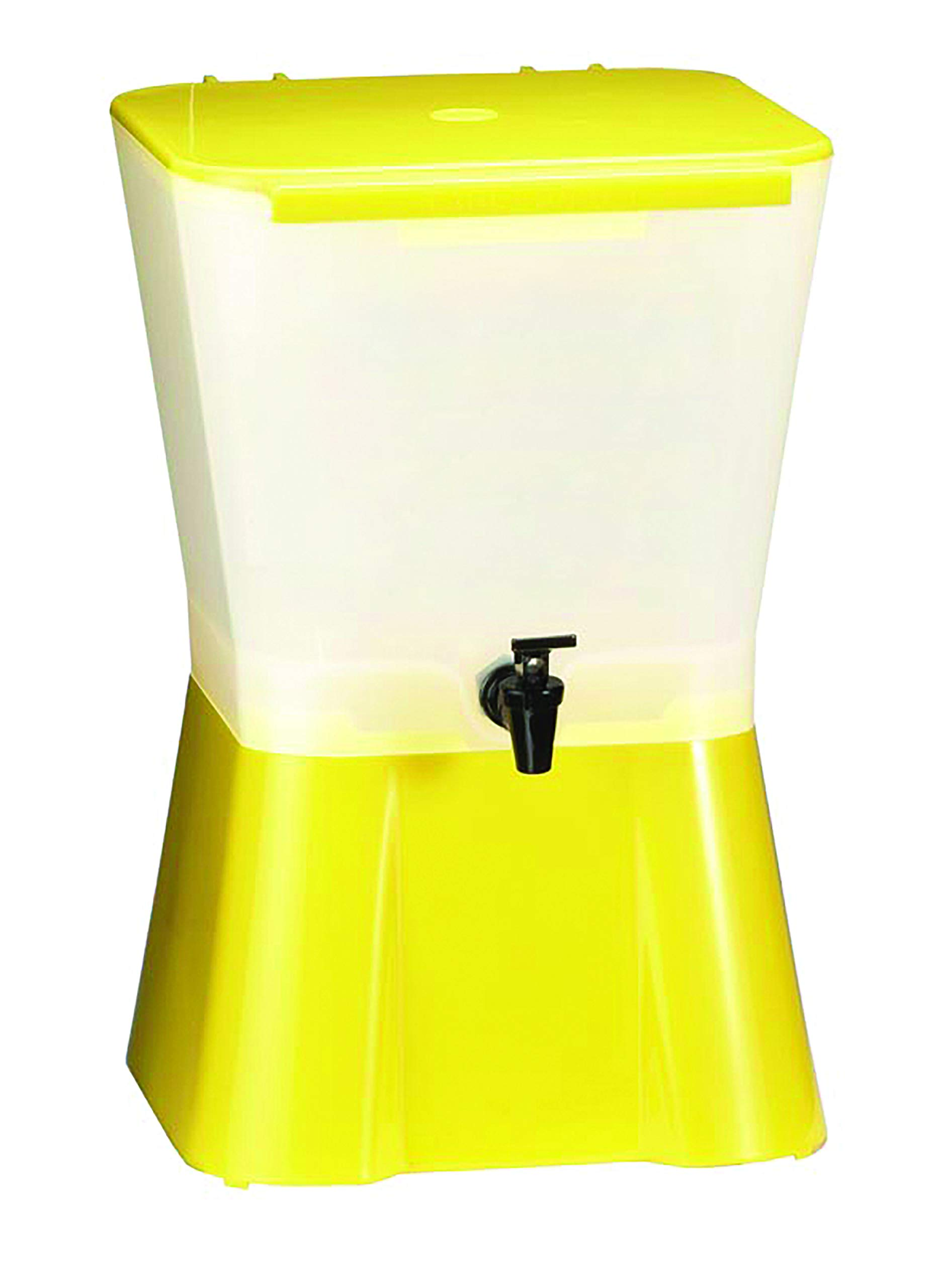 Tablecraft 3 Gallon Yellow Plastic Beverage Dispenser   Cold Drink Dispenser for Catering, Buffet or Restaurant Use by Tablecraft